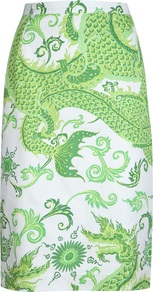 Dragon Print Skirt - length: below the knee; style: straight; fit: body skimming; waist: high rise; predominant colour: emerald green; occasions: evening, work; fibres: cotton - 100%; waist detail: narrow waistband; trends: statement prints; pattern type: fabric; pattern size: big & busy; pattern: patterned/print; texture group: woven light midweight