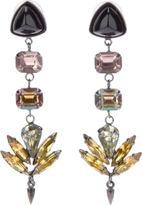 &#x27;Crystal Column&#x27; Earrings - occasions: evening, occasion; predominant colour: multicoloured; style: drop; length: long; size: large/oversized; material: chain/metal; fastening: pierced; finish: plain; embellishment: jewels
