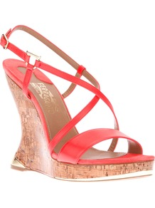 Wedge Sandal - predominant colour: bright orange; occasions: evening, holiday; material: leather; heel height: high; ankle detail: ankle strap; heel: wedge; toe: open toe/peeptoe; style: strappy; finish: fluorescent; pattern: plain