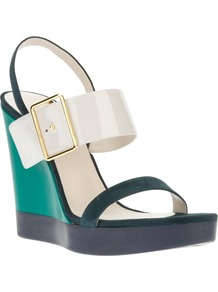 Wedge Sandal - predominant colour: emerald green; occasions: casual, evening; material: leather; heel height: high; embellishment: buckles; ankle detail: ankle strap; heel: wedge; toe: open toe/peeptoe; style: strappy; finish: plain; pattern: colourblock
