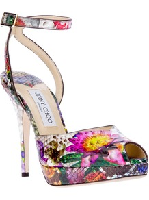 'Liz' Sandal - occasions: evening, occasion; predominant colour: multicoloured; material: leather; heel height: high; ankle detail: ankle strap; heel: platform; toe: open toe/peeptoe; style: standard; trends: high impact florals; finish: plain; pattern: florals