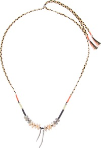 'Amulet' Necklace - occasions: casual, evening, occasion, holiday; predominant colour: multicoloured; style: pendant; length: mid; size: small/fine; material: fabric; finish: plain; embellishment: beading