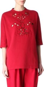 Cut Out Top - sleeve style: dolman/batwing; pattern: plain; neckline: high neck; length: below the bottom; predominant colour: true red; occasions: casual; style: top; fibres: cotton - 100%; fit: loose; bust detail: contrast pattern/fabric/detail at bust; sleeve length: half sleeve; pattern type: fabric; texture group: jersey - stretchy/drapey
