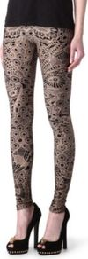 Lace Print Leggings - length: standard; style: leggings; waist detail: elasticated waist; waist: mid/regular rise; predominant colour: nude; secondary colour: black; occasions: casual, evening; texture group: jersey - clingy; trends: statement prints; fit: skinny/tight leg; pattern type: fabric; pattern size: big & busy; pattern: patterned/print; fibres: nylon - stretch