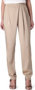 Forever Drape Trousers - length: standard; pattern: plain; style: harem/slouch; waist: high rise; predominant colour: stone; occasions: evening, occasion; fibres: viscose/rayon - 100%; hip detail: front pleats at hip level; texture group: silky - light; fit: tapered; pattern type: fabric