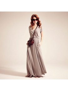 Grey Maxidress With Coolfresh - neckline: low v-neck; fit: fitted at waist; pattern: plain; style: maxi dress; waist detail: elasticated waist; predominant colour: light grey; occasions: casual, holiday; length: floor length; fibres: polyester/polyamide - mix; sleeve length: short sleeve; sleeve style: standard; pattern type: fabric; texture group: jersey - stretchy/drapey