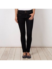 Shape Enhancing Dark Blue Shape &amp; Lift Skinny Jeans - style: skinny leg; length: standard; pattern: plain; pocket detail: traditional 5 pocket; waist: mid/regular rise; predominant colour: navy; occasions: casual; fibres: cotton - stretch; jeans detail: dark wash; texture group: denim; pattern type: fabric
