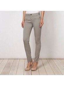 Designer Grey Zipped Pocketed Skinny Jeans - style: skinny leg; length: standard; pattern: plain; waist: mid/regular rise; predominant colour: mid grey; occasions: casual; fibres: cotton - stretch; texture group: denim; pattern type: fabric