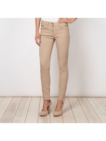Designer Beige Zipped Pocketed Skinny Jeans - style: skinny leg; pattern: plain; pocket detail: traditional 5 pocket; predominant colour: stone; occasions: casual; length: ankle length; fibres: cotton - stretch; texture group: denim; pattern type: fabric