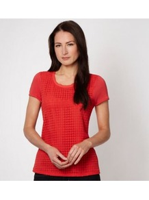 Designer Red Crochet Panelled T Shirt - neckline: round neck; pattern: plain; style: t-shirt; predominant colour: coral; occasions: casual; length: standard; fibres: viscose/rayon - 100%; fit: body skimming; sleeve length: short sleeve; sleeve style: standard; texture group: knits/crochet