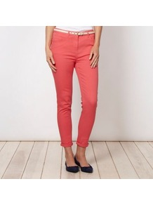 Designer Coral Belted Slim Leg Jeans - style: skinny leg; length: standard; pattern: plain; pocket detail: traditional 5 pocket; waist: mid/regular rise; predominant colour: coral; occasions: casual; fibres: cotton - stretch; jeans &amp; bottoms detail: turn ups; texture group: denim; pattern type: fabric