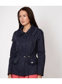 Designer Navy Short Parka Jacket - pattern: plain; length: below the bottom; fit: loose; style: parka; collar: high neck; predominant colour: navy; occasions: casual; fibres: cotton - mix; waist detail: belted waist/tie at waist/drawstring; sleeve length: long sleeve; sleeve style: standard; collar break: high; pattern type: fabric; texture group: other - light to midweight