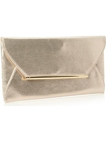 Designer Golf Bar Envelope Clutch Bag - predominant colour: champagne; occasions: evening, occasion; type of pattern: standard; style: clutch; length: hand carry; size: small; material: fabric; pattern: plain; trends: metallics; finish: metallic; embellishment: chain/metal