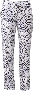 Harper Trouser - length: standard; waist: mid/regular rise; secondary colour: white; predominant colour: royal blue; occasions: casual, evening, occasion; fibres: viscose/rayon - 100%; fit: straight leg; pattern type: fabric; pattern size: small & busy; pattern: animal print; texture group: woven light midweight; style: standard