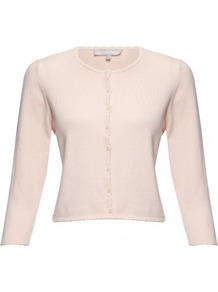 Coralee Cardigan - neckline: round neck; pattern: plain; length: cropped; predominant colour: blush; occasions: casual, evening, work; style: standard; fibres: silk - mix; fit: slim fit; sleeve length: 3/4 length; sleeve style: standard; texture group: knits/crochet; pattern type: knitted - other