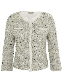 Sequin Tweed Jacket - pattern: plain; collar: round collar/collarless; length: cropped; style: boxy; predominant colour: sage; occasions: casual, evening, work, occasion; fit: straight cut (boxy); fibres: cotton - mix; sleeve length: 3/4 length; sleeve style: standard; collar break: high; pattern type: fabric; pattern size: standard; texture group: tweed - light/midweight; embellishment: sequins