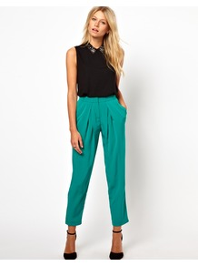 Peg Trousers With Soft Pleats - pattern: plain; style: peg leg; waist: high rise; predominant colour: emerald green; occasions: casual, evening, work, occasion; length: ankle length; fibres: polyester/polyamide - 100%; hip detail: front pleats at hip level; texture group: crepes; fit: tapered; pattern type: fabric; pattern size: standard