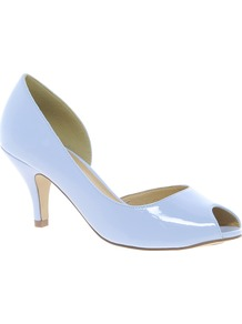 Sugar Cube Heels - predominant colour: pale blue; occasions: evening, work, occasion; material: faux leather; heel height: mid; heel: kitten; toe: open toe/peeptoe; style: courts; finish: patent; pattern: plain