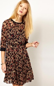 Nw3 Butterfly Print Dress - style: shift; neckline: round neck; fit: fitted at waist; waist detail: twist front waist detail/nipped in at waist on one side/soft pleats/draping/ruching/gathering waist detail; predominant colour: chocolate brown; occasions: casual, evening, work; length: just above the knee; fibres: polyester/polyamide - 100%; sleeve length: 3/4 length; sleeve style: standard; texture group: sheer fabrics/chiffon/organza etc.; pattern type: fabric; pattern size: small &amp; busy; pattern: patterned/print