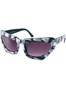 Monochrome Extreme Cat Eye Sunglasses - predominant colour: light grey; occasions: casual, holiday; style: cateye; size: large; material: plastic/rubber; trends: statement prints; finish: plain; pattern: patterned/print