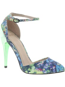 Priority Pointed High Heels - occasions: evening, work, occasion, holiday; predominant colour: multicoloured; material: fabric; heel height: high; ankle detail: ankle strap; heel: stiletto; toe: pointed toe; style: courts; trends: high impact florals, statement prints; finish: plain; pattern: patterned/print