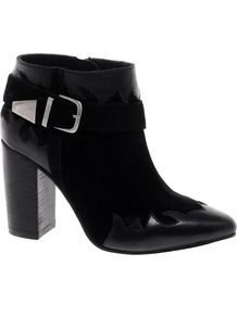 Animate Leather Ankle Boots - predominant colour: black; occasions: casual, evening, work; material: leather; heel height: high; embellishment: buckles; heel: block; toe: pointed toe; boot length: ankle boot; style: cowboy; finish: plain; pattern: plain
