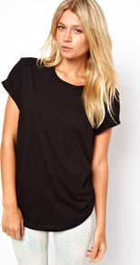 Boyfriend T Shirt - neckline: round neck; pattern: plain; style: t-shirt; predominant colour: black; occasions: casual; length: standard; fibres: cotton - 100%; fit: loose; sleeve length: short sleeve; sleeve style: standard; pattern type: fabric; pattern size: standard; texture group: jersey - stretchy/drapey
