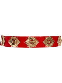 Deco Plate Waist Belt - predominant colour: true red; occasions: casual, evening, work, occasion, holiday; type of pattern: standard; style: classic; size: standard; worn on: waist; material: fabric; trends: metallics; finish: metallic; pattern: patterned/print; embellishment: chain/metal