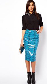 Leather Pencil Skirt In Snake - length: below the knee; style: pencil; fit: tight; waist: high rise; hip detail: fitted at hip; predominant colour: turquoise; occasions: evening, work, occasion; fibres: leather - 100%; texture group: leather; trends: statement prints, fluorescent; pattern type: fabric; pattern size: small &amp; busy; pattern: animal print