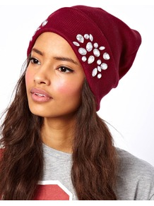 Turn Up Beanie With Embellishment - predominant colour: burgundy; occasions: casual, work; type of pattern: light; style: beanie; size: standard; material: knits; pattern: plain; embellishment: jewels