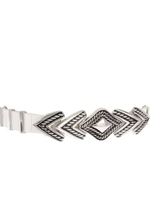 Engraved Arrow Waist Belt - predominant colour: white; occasions: casual, evening, work, occasion, holiday; type of pattern: standard; style: chainlink; size: standard; worn on: waist; material: chain/metal; trends: metallics, modern geometrics; finish: metallic; pattern: patterned/print; embellishment: chain/metal