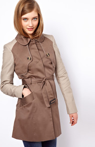 Contrast Sleeve Mac - hip detail: side pockets at hip; style: mac; length: mid thigh; predominant colour: taupe; secondary colour: stone; occasions: casual, work; fit: tailored/fitted; fibres: cotton - stretch; collar: shirt collar/peter pan/zip with opening; waist detail: belted waist/tie at waist/drawstring; back detail: back vent/flap at back; sleeve length: long sleeve; sleeve style: standard; collar break: high; pattern type: fabric; pattern: colourblock; texture group: woven light midweight