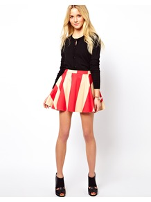 Skater Skirt In Wide Stripe - length: mid thigh; pattern: striped; style: full/prom skirt; fit: loose/voluminous; waist: high rise; predominant colour: true red; occasions: casual, evening, holiday; fibres: cotton - stretch; hip detail: soft pleats at hip/draping at hip/flared at hip; waist detail: narrow waistband; trends: striking stripes; pattern type: fabric; pattern size: standard; texture group: jersey - stretchy/drapey