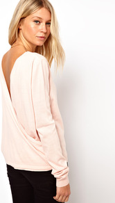 Drape Back Jumper - pattern: plain; back detail: low cut/open back; style: standard; predominant colour: blush; occasions: casual, work; length: standard; fibres: acrylic - 100%; fit: slim fit; neckline: crew; sleeve length: long sleeve; sleeve style: standard; pattern type: fabric; texture group: jersey - stretchy/drapey