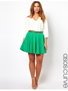 Curve Exclusive Skater Skirt With Belt - length: mid thigh; pattern: plain; style: full/prom skirt; fit: loose/voluminous; waist: high rise; waist detail: belted waist/tie at waist/drawstring; predominant colour: emerald green; occasions: casual, evening, holiday; fibres: polyester/polyamide - mix; hip detail: structured pleats at hip; trends: volume; pattern type: fabric; pattern size: standard; texture group: jersey - stretchy/drapey