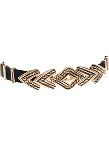 Engraved Arrow Waist Belt - predominant colour: gold; occasions: casual, evening, work, occasion, holiday; type of pattern: standard; style: chainlink; size: standard; worn on: waist; material: chain/metal; pattern: plain; trends: metallics, modern geometrics; finish: metallic; embellishment: chain/metal