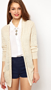 A Wear Woven Back Cardigan - pattern: plain; neckline: collarless open; back detail: contrast pattern/fabric at back; style: open front; predominant colour: ivory; occasions: casual; length: standard; fibres: acrylic - mix; fit: loose; sleeve length: long sleeve; sleeve style: standard; texture group: knits/crochet; pattern type: knitted - other