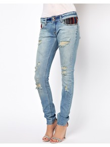 Matilda Skinny Jean With Aztec Pockets - style: skinny leg; length: standard; pattern: plain; pocket detail: traditional 5 pocket; waist: mid/regular rise; predominant colour: denim; secondary colour: black; occasions: casual; fibres: cotton - stretch; jeans detail: washed/faded; texture group: denim; trends: modern geometrics; pattern type: fabric; pattern size: small &amp; light