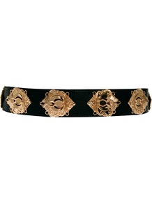 Deco Plate Waist Belt - secondary colour: gold; predominant colour: black; occasions: evening, work, occasion; type of pattern: large; style: classic; size: standard; worn on: waist; material: faux leather; trends: metallics; finish: metallic; pattern: patterned/print; embellishment: chain/metal
