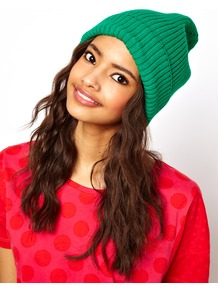 Rib Boyfriend Beanie - predominant colour: emerald green; occasions: casual; type of pattern: standard; style: beanie; size: standard; material: knits; pattern: plain