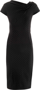 Stretch Tweed Dress - style: shift; neckline: v-neck; fit: tailored/fitted; pattern: plain; waist detail: fitted waist; predominant colour: black; occasions: evening, occasion; length: on the knee; fibres: polyester/polyamide - stretch; sleeve length: short sleeve; sleeve style: standard; pattern type: fabric; texture group: tweed - light/midweight
