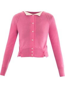 Cashmere Cardigan - neckline: round neck; pattern: plain; length: cropped; predominant colour: pink; occasions: casual, evening, work; style: standard; fit: slim fit; fibres: cashmere - 100%; sleeve length: long sleeve; sleeve style: standard; texture group: knits/crochet; pattern type: knitted - fine stitch