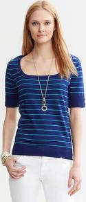 Striped Square Neck Pullover - pattern: horizontal stripes; length: below the bottom; style: standard; secondary colour: white; predominant colour: royal blue; occasions: casual, work; fibres: cotton - 100%; fit: standard fit; sleeve length: half sleeve; sleeve style: standard; texture group: knits/crochet; neckline: low square neck; pattern type: knitted - fine stitch; pattern size: standard