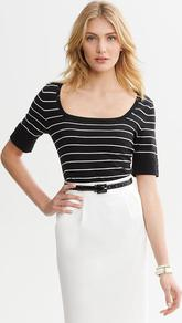 Striped Square Neck Pullover - pattern: horizontal stripes; length: below the bottom; style: standard; secondary colour: white; predominant colour: black; occasions: casual, work; fibres: cotton - 100%; fit: standard fit; sleeve length: half sleeve; sleeve style: standard; texture group: knits/crochet; neckline: low square neck; pattern type: knitted - fine stitch; pattern size: standard