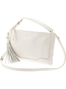 Evan Convertible Leather Crossbody - predominant colour: white; occasions: casual; type of pattern: standard; style: shoulder; length: across body/long; size: standard; material: leather; embellishment: tassels; pattern: plain; finish: plain