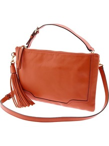Evan Convertible Leather Crossbody - predominant colour: bright orange; occasions: casual; type of pattern: small; style: shoulder; length: across body/long; size: small; material: leather; embellishment: tassels; pattern: plain; finish: plain
