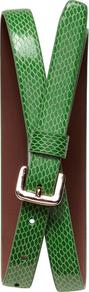 Exotic Belt - predominant colour: emerald green; occasions: casual, work; type of pattern: light; style: classic; size: standard; worn on: hips; material: faux leather; pattern: animal print; finish: patent