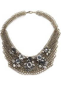 Crystal Embellished Mesh Choker - predominant colour: gold; occasions: evening, occasion, holiday; style: choker/collar; length: short; size: standard; material: chain/metal; finish: metallic; embellishment: jewels