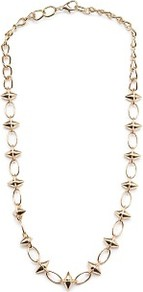 Spiked Rings Necklace - predominant colour: gold; occasions: casual, evening, work, occasion, holiday; style: standard; length: long; size: standard; material: chain/metal; trends: metallics; finish: plain; embellishment: chain/metal