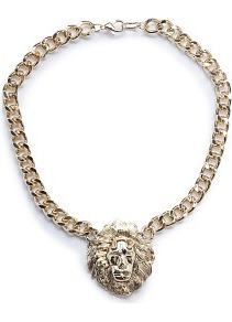 Lion Pendant Necklace - predominant colour: gold; occasions: casual, evening, occasion, holiday; style: pendant; length: mid; size: large/oversized; material: chain/metal; trends: metallics; finish: plain; embellishment: chain/metal